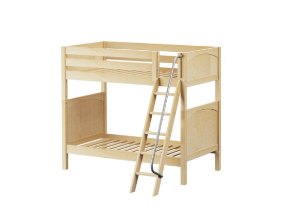 Maxtrix twin over twin bunk bed with slanted ladder in natural finish