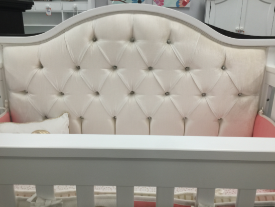 bellina custom tufted crib with crystals