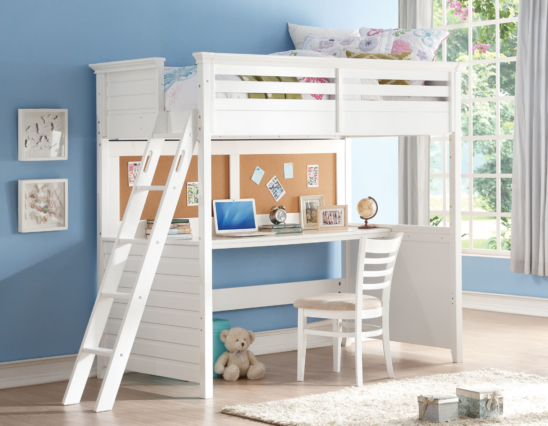 costa twin loft bed with workstation