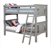crestline twin over twin bunk bed in gray