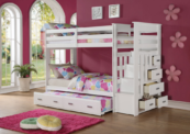 georgetown twin over twin bunk bed with stairs and trundle in white