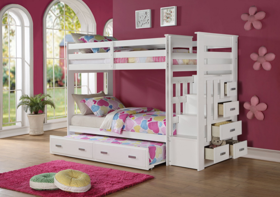 Georgetown Twin Over Twin Bunk Bed W Stairs In White