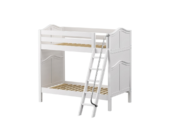 maxtrix twin over twin curved bunk bed with slanted ladder in white