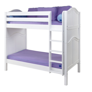 maxtrix twin over twin curved white bunk bed with straight ladder