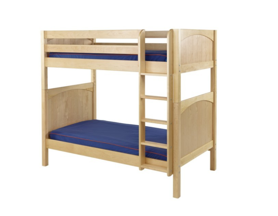 maxtrix twin over twin panel bunk bed in natural with straight ladder