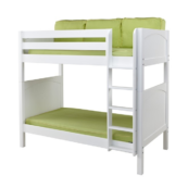 maxtrix twin over twin panel bunk bed in white with straight ladder