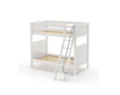 maxtrix twin over twin panel bunk bed with slanted ladder in white