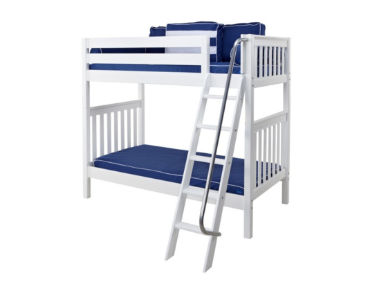 maxtrix twin over twin slatted bunk bed in white with slanted ladder