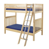 maxtrix twin over twin slatted bunk bed with slanted ladder in natural finish