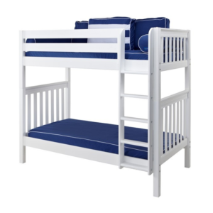 maxtrix twin over twin white slatted bunk bed with straight ladder