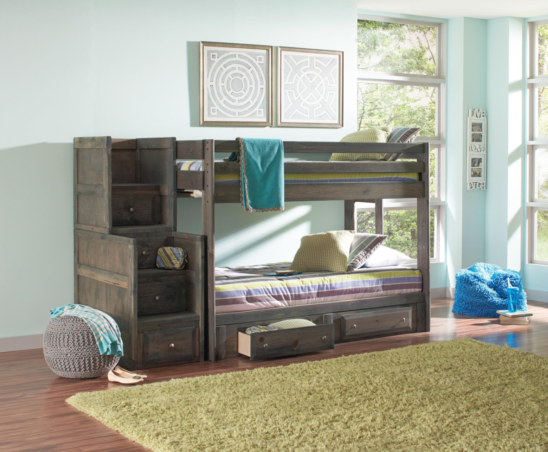 rusty twin over twin bunk bed with stairs