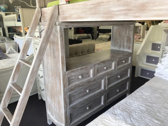 porter rustic loft bed with dresser