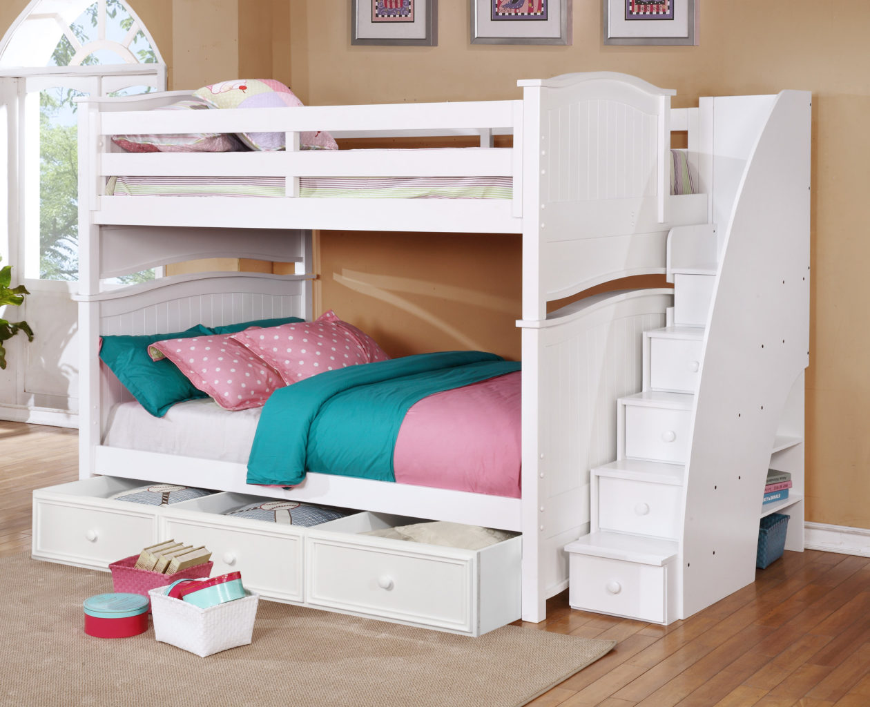 Bed Over Stair Box With Storage And Stairs: Ashton Full Over Full Bunk Bed With Staircase And