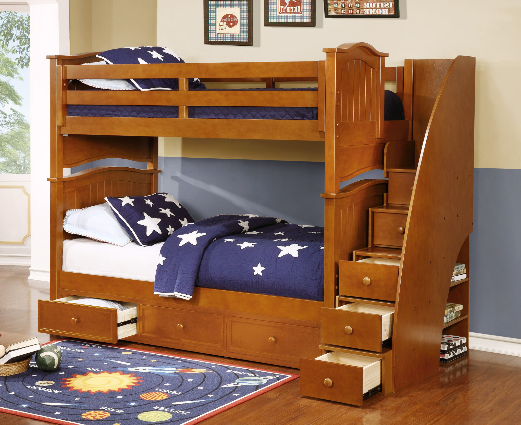 Ashton Twin Over Twin Bunk Bed With Staircase And Waterford 3 Drawer Storage Rustic Pecan Kids