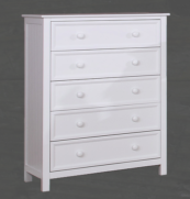 Autumn 5 Drawer Chest of Drawers in White