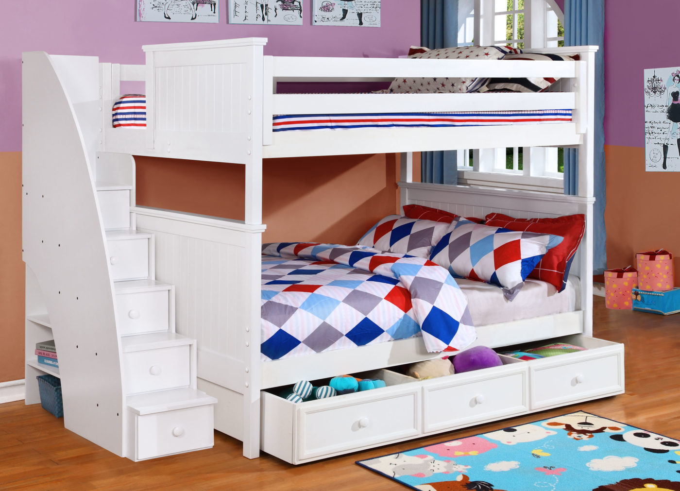 Beadboard Full Over Full Bunk Bed With Stairs Trundle And