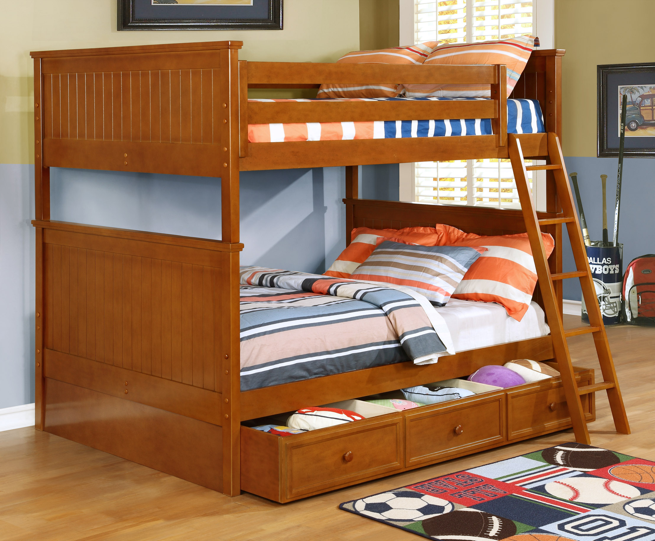 Beadboard Full Over Full Bunk Bed White Rustic Pecan