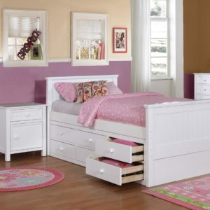 Beadboard Twin Size Panel Bed Collection and Modesty Panel White