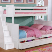 Beadboard Twin over Full Bunk Bed with Stairs, Trundle and Modesty Panel White