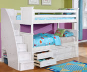 Beadboard Twin over Twin Bunk Bed with Stairs and Trundle White