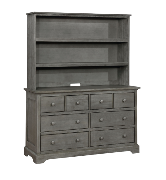 Charlie 6 Drawer Dresser with Hutch in Weathered Grey