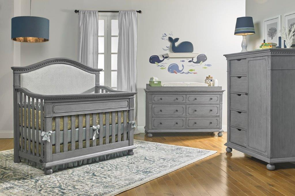 Dolce Babi Naples Curved Upholstered Crib In Nantucket Grey