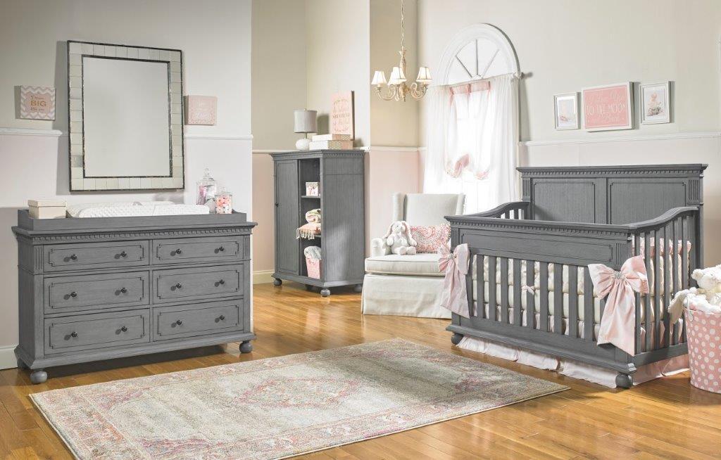 Dolce Babi Naples Full Panel Crib In Nantucket Grey