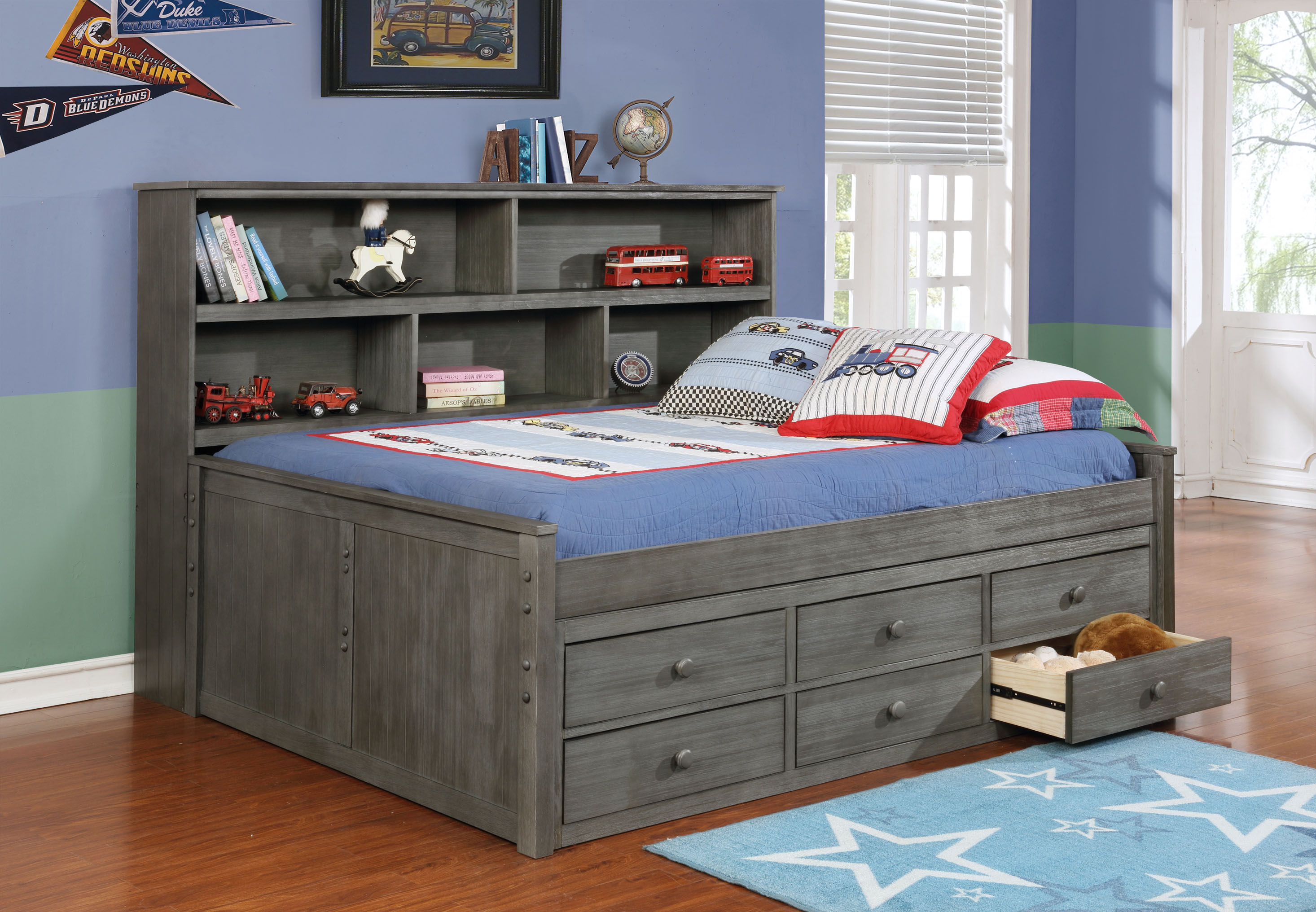 Full Trundle Bed With Bookcase
