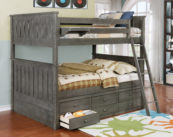 Jackson Full over Full Bunk Bed with Captain's Storage Weathered Grey