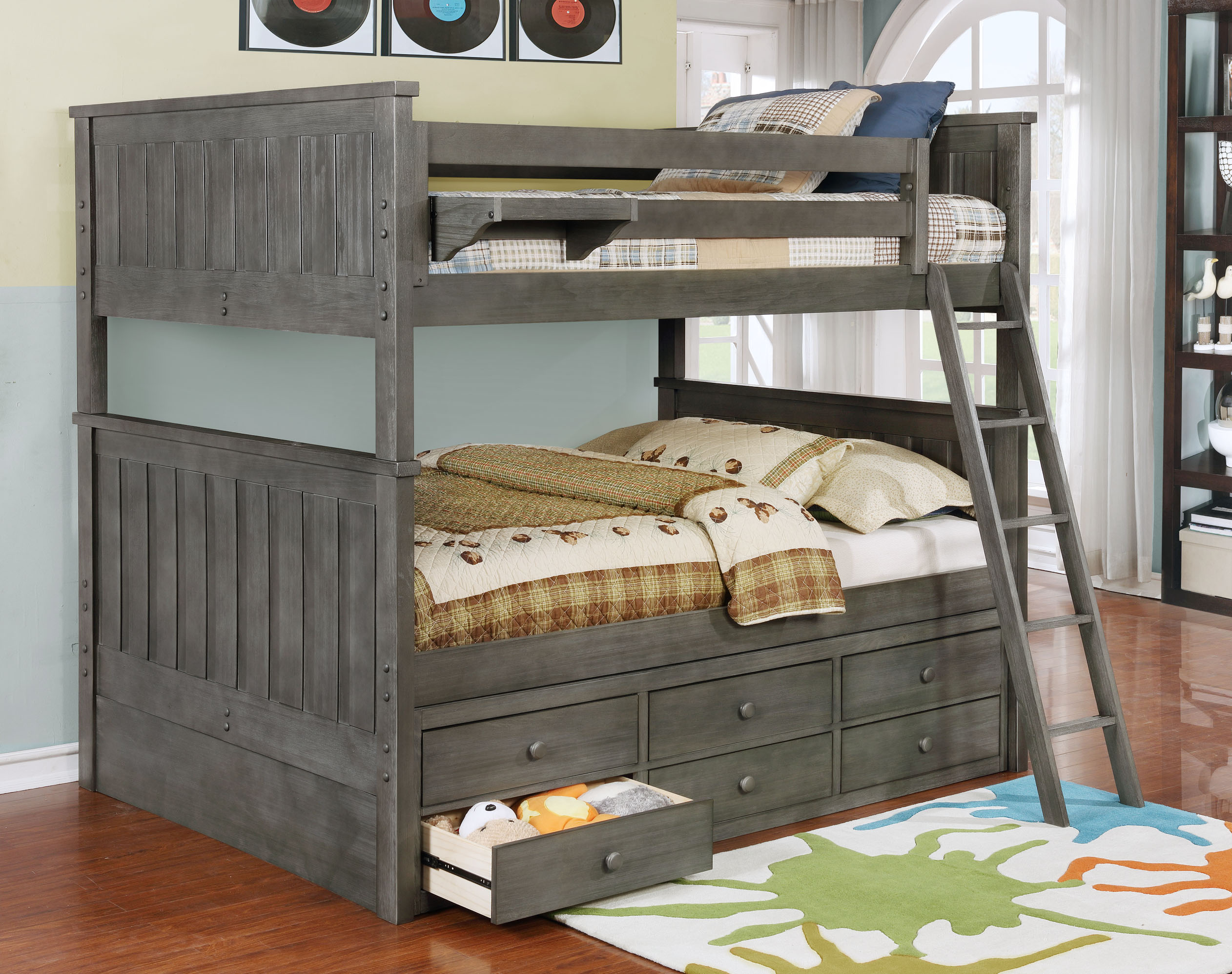 Jackson Full Over Full Bunk Bed White Espresso Rustic Pecan Graphite Grey Weathered Grey Kids Furniture In Los Angeles