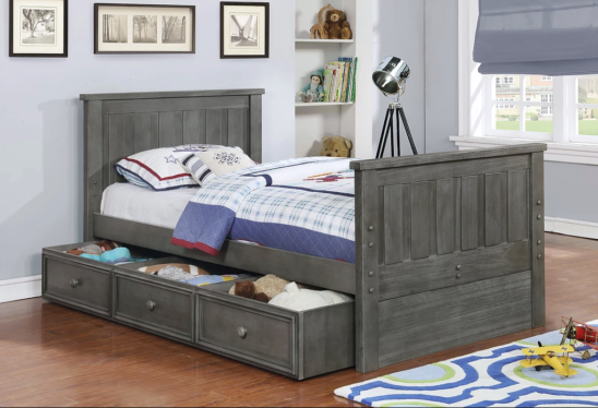 Jackson Twin Size Bed with Trundle Storage in Weathered Grey
