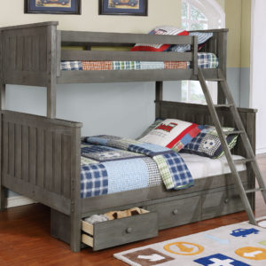 Jackson Twin over Full Bunk Bed with 3 Drawer Storage Weathered Grey
