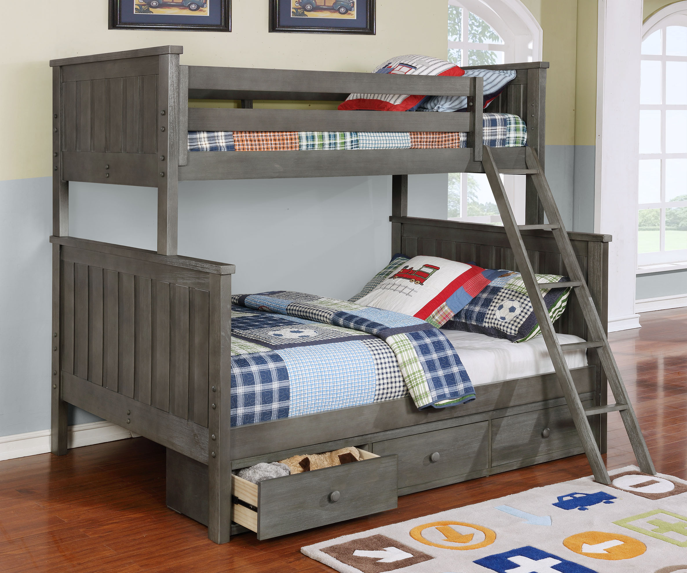 Jackson Twin Over Full Bunk Bed White Espresso Rustic Pecan Graphite Grey Weathered Grey Kids Furniture In Los Angeles
