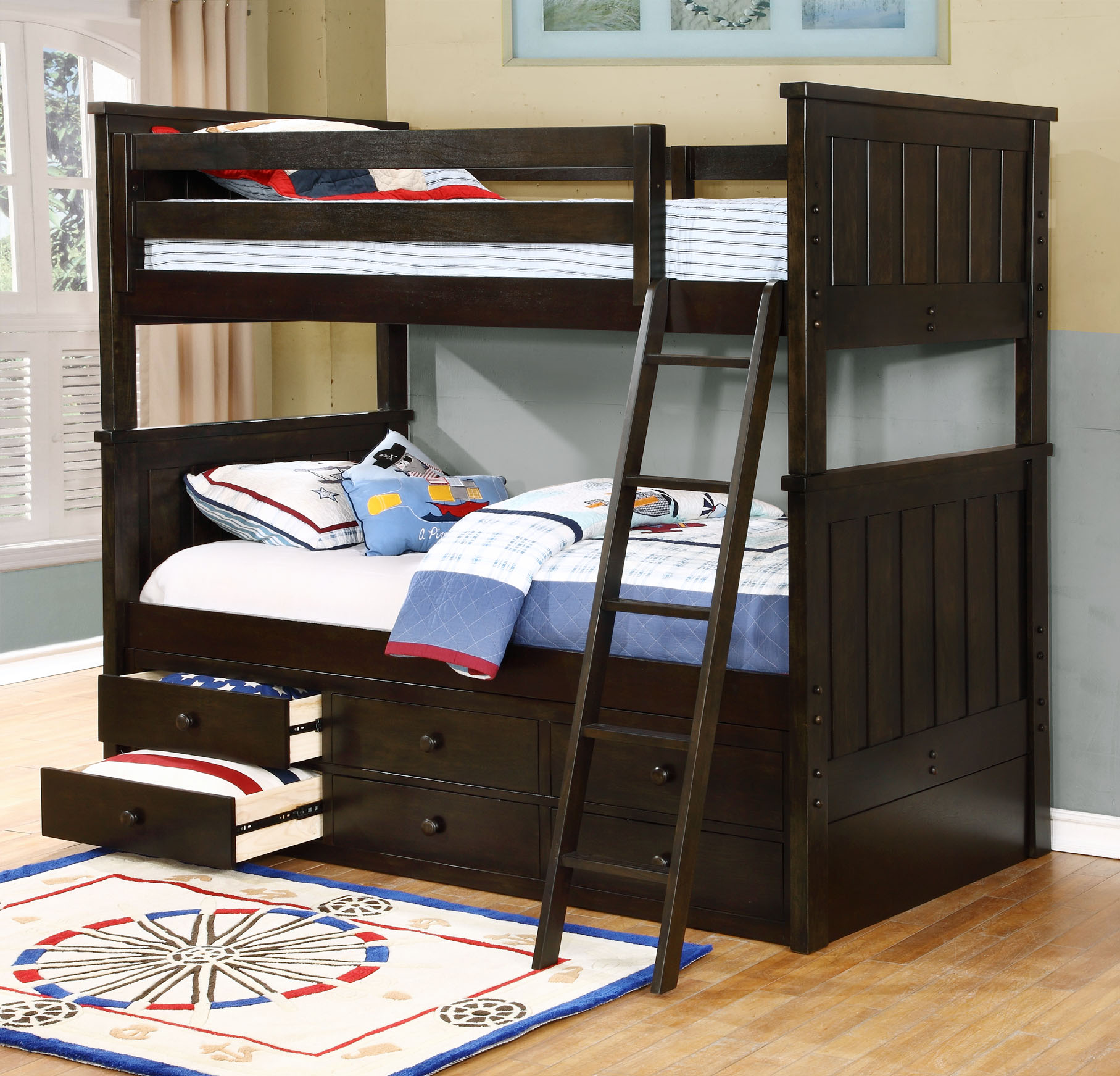 jackson twin over twin bunk bed  white  espresso  rustic pecan  graphite grey  u0026 weathered grey