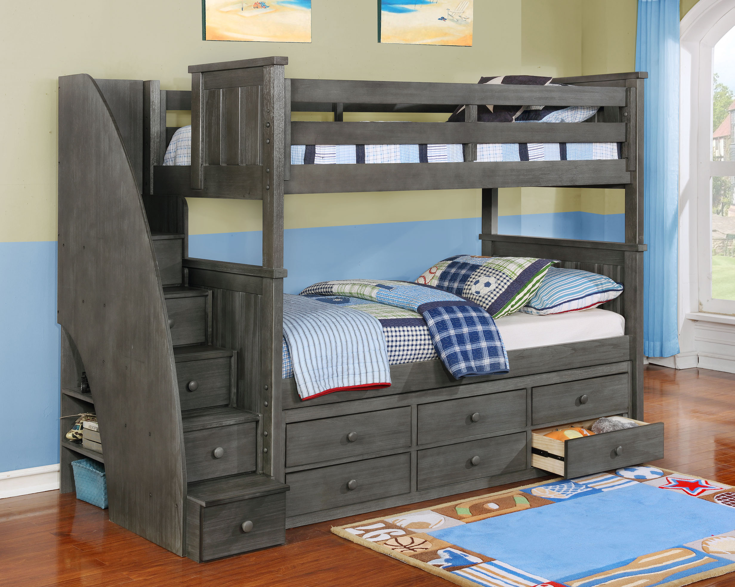 Jackson Twin Over Twin Bunk Bed (White, Espresso, Rustic Pecan, Graphite Grey & Weathered Grey