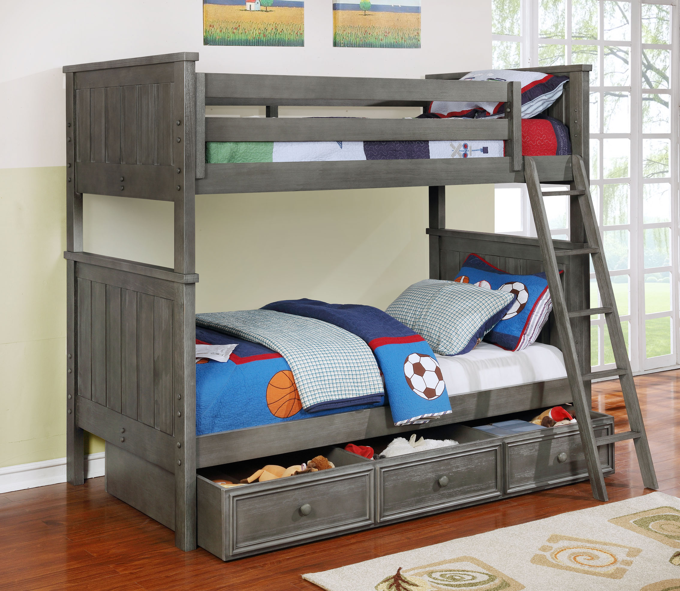 Jackson Twin Over Twin Bunk Bed White Espresso Rustic
