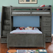 Multifunction Twin over Full Loft Bed Weathered Grey