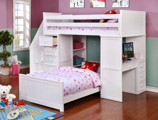 Student Loft Twin over Twin with Staircase White S