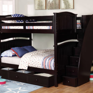 Sydney Full over Full Bunk Bed with Staircase and 3 Drawer Storage Espresso