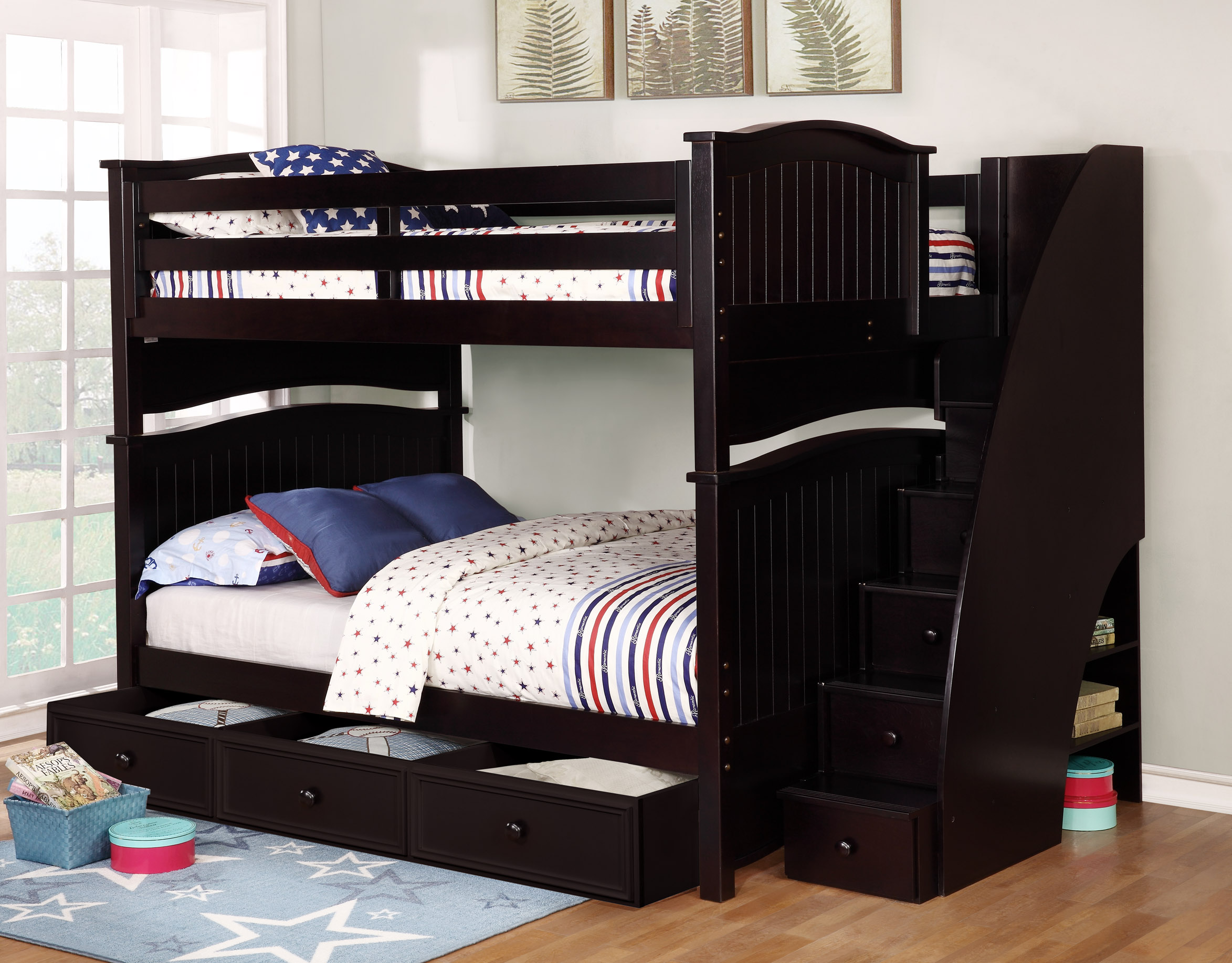 Sydney Full Over Full Bunk Bed White Espresso Rustic Pecan