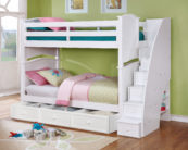 Sydney Twin over Twin Bunk Bed with Staircase and 3 Drawer Storage White