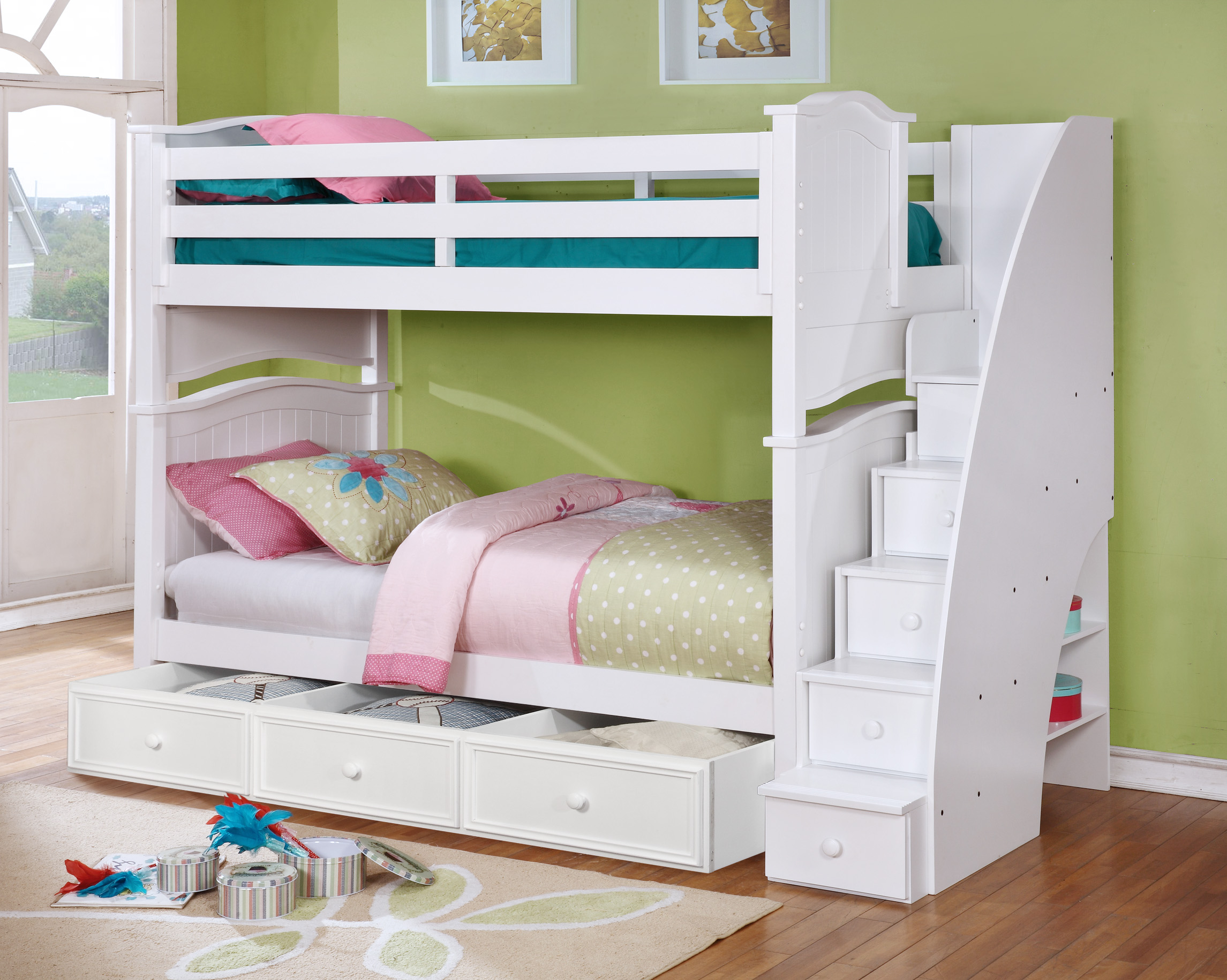 Picture of: Sydney Twin Over Twin Bunk Bed White Espresso Rustic Pecan Kids Furniture In Los Angeles