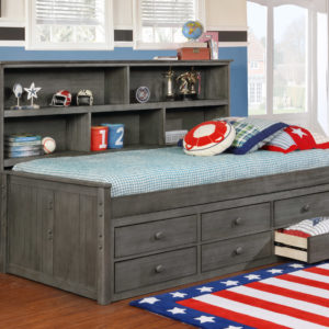 Twin Size Bookcase Lounge Bed Storage Weathered Grey