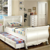 Alexa Twin Size Sleigh Bed with Optional Trundle in Pearl Off-White