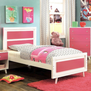 Alicia Twin Size Bed in Pink and White