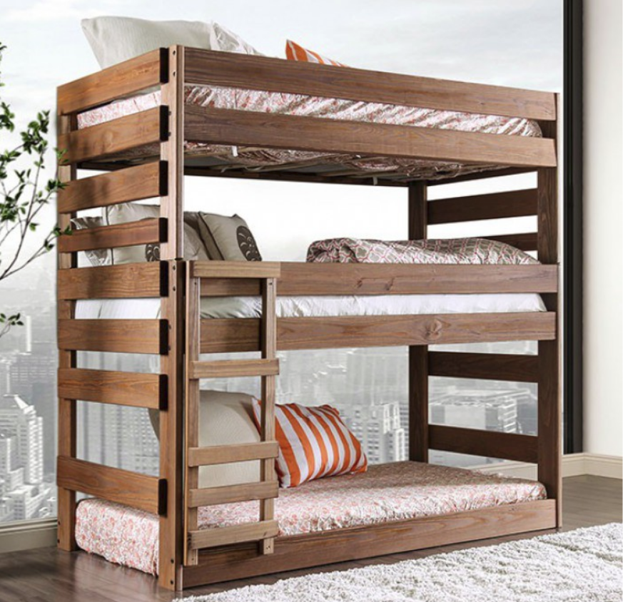 Anna Twin Size Triple Bunk Bed In Rustic Mahogany
