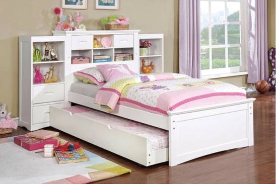Apple Bookcase Bed with Trundle and Side Bookcases in White