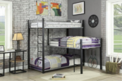 Audrey Triple Twin Bunk Bed in Sand Black and Silver