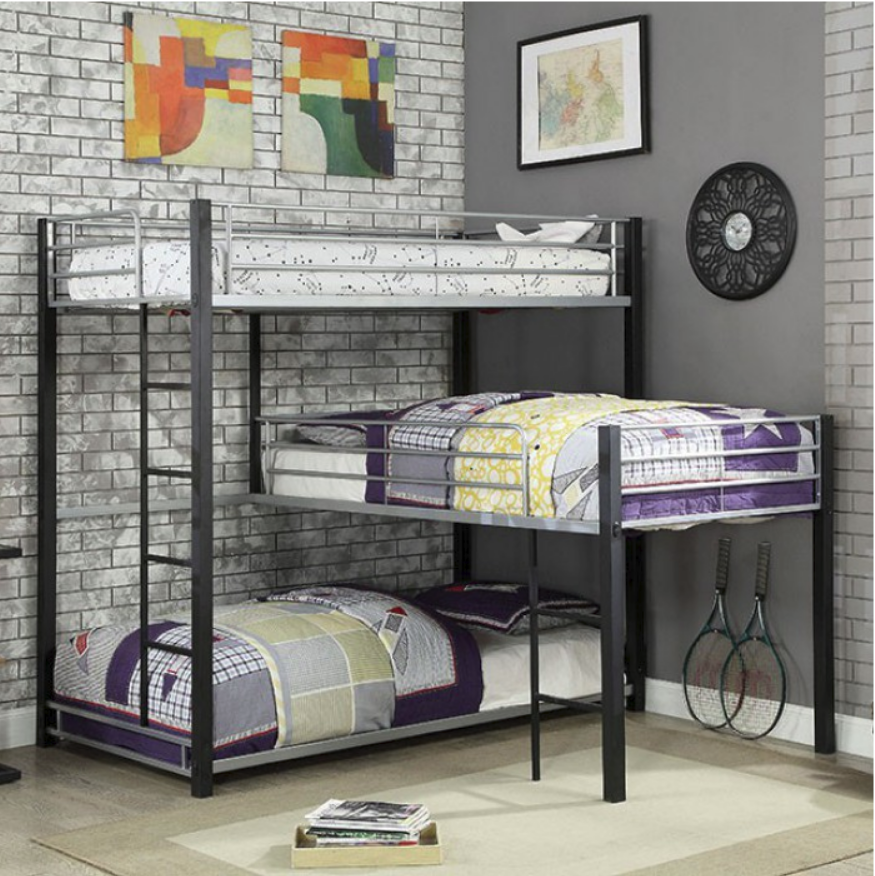 Audrey Triple Twinbunk Bed In Sand Black And Silver Kids