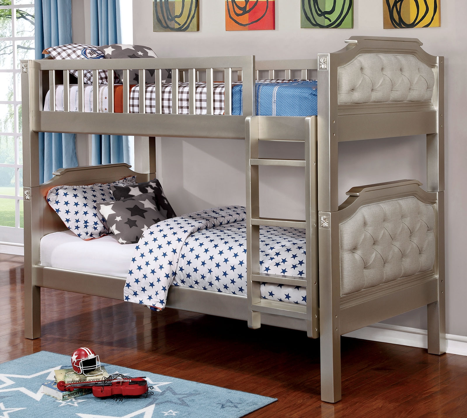 Bea Twin Over Twin Linen Upholstered Bunk Bed In Champagne